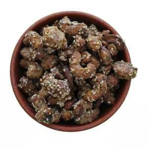 Imagem ilustrativa do produto castanha de caju caramelizada com gergelim