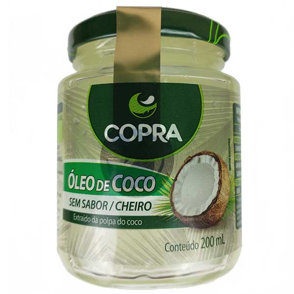 óleo de coco sem sabor 200ml da marca copra