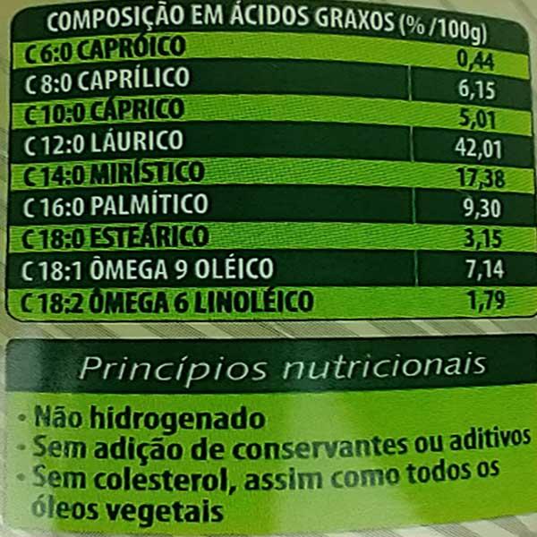 princípios nutricionais do óleo de coco sem sabor copra