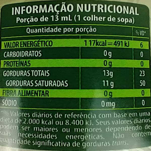 tabela nutricional do óleo de coco sem sabor copra