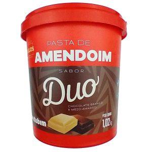 pasta de amendoim duo com Chocolate Branco e Meio Amargo 1,020kg da marca Mandubim