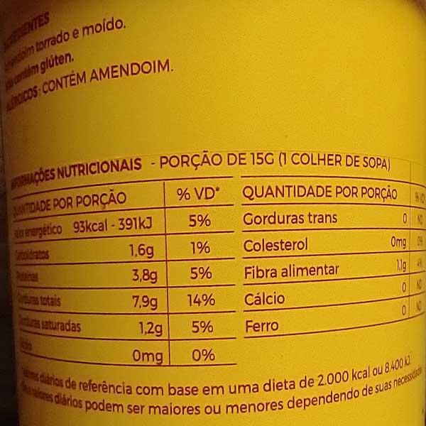 Tabela Nutricional da pasta de amendoim integral da marca Mandubim