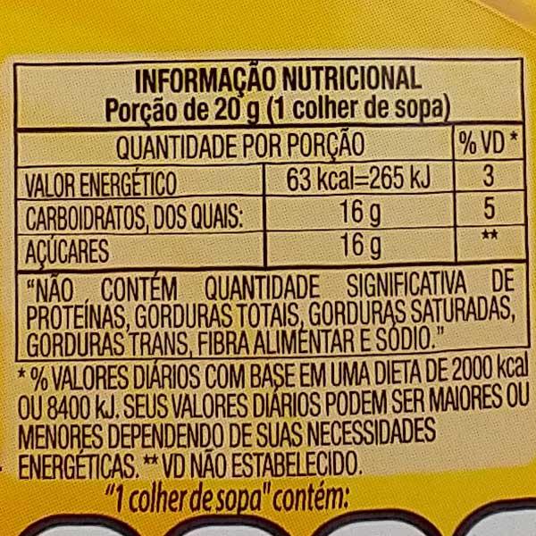 Tabela Nutricional Glucose de Milho Karo Natural 350g