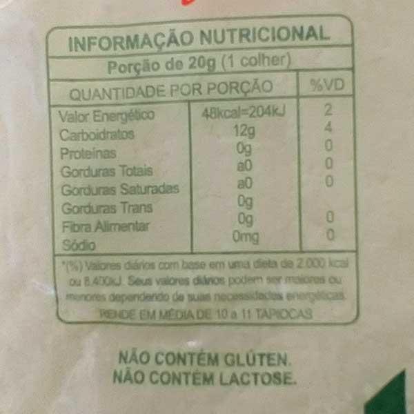 tabela nutricional da massa pronta para tapioca da marca pantanal