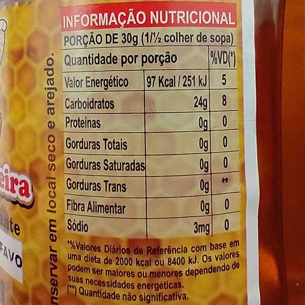 Tabela Nutricional Mel Apiário Siqueira