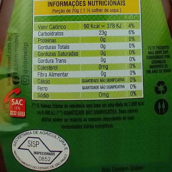 Tabela Nutricional do Mel Riomel